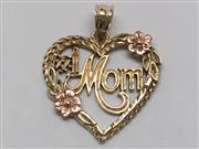 #1 MOM HEART PENDANT 14K YELLOW GOLD